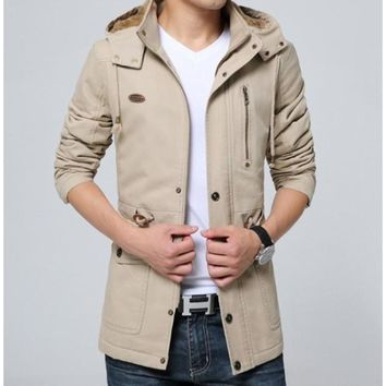 Mens Military Style Hooded Trench Coat