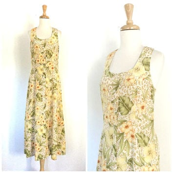 Vintage Summer Maxi - floral dress - sundress - hippie dress - tea dress -  Medium