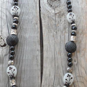 Handmade Black  White Beaded Necklace Earring Set