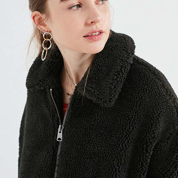 Light Before Dark Oversized Sherpa Zip-Up Jacket | Urban Outfitters