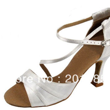 New Women White Wedding Bridal Dance Shoes Latin Ballroom Shoes Salsa Dance Shoes Size 35,36,37,38,39,40,41