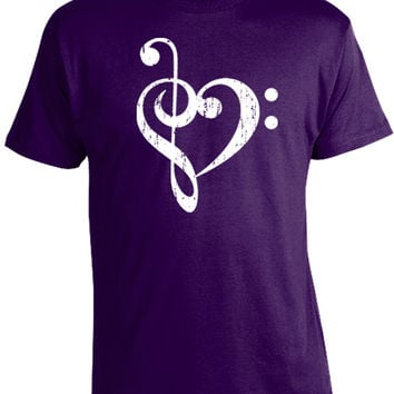 Bass Treble Clef Heart T-Shirt