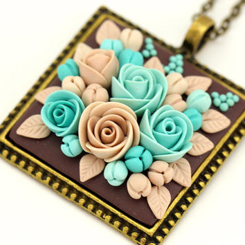 "Floral Pendant Necklace ""Garden"" MADE TO ORDER Polymer Clay Roses Feminine Floral Jewelry Beige Turquoise Floral Necklace"