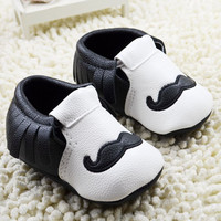 Baby Moccasins Soft Moccs Moustache Baby Shoes Newborn Baby firstwalker Anti-slip PU Infant Shoes Footwear