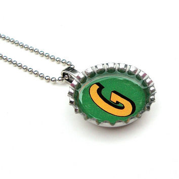 SALE Bottle cap necklace - initial necklace - letter G necklace - monogrammed necklace - upcycled jewelry by Sparkle City Jewelry