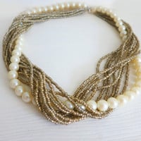 Wedding Pearl Necklace Champagne Chunky Beaded Bridal Ivory Pearl Gold Silver Elegant Beach Fashion