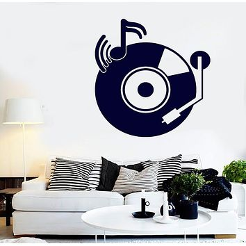 Vinyl Decal Vintage Record Players Notes Sound Wall Sticker Unique Gift (n649)