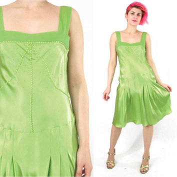 1920s Style Flapper Dress Lime Green Silk Dress 90s Beaded Silk Chiffon Dress Party Cocktail Drop Waist 20s Slip Art Deco Prom Dress (S/M)