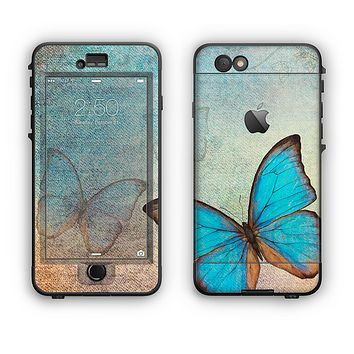 The Vivid Blue Butterfly On Textile Apple iPhone 6 LifeProof Nuud Case Skin Set