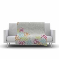 "Julia Grifol ""Dancing Flowers"" Gray Orange Vector Fleece Throw Blanket"