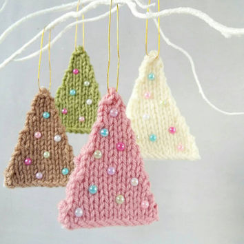 Knit Tree Ornament Set – Gift Tags – Knit Ornament – Gift Toppers – Set of 4 Ornaments – Xmas Tree Decorations– Tree Decor- Unique Gift Tags