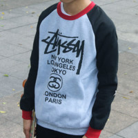 Stussy autumn and winter men plus cashmere sweater letter printing hit color long-sleeved round neck