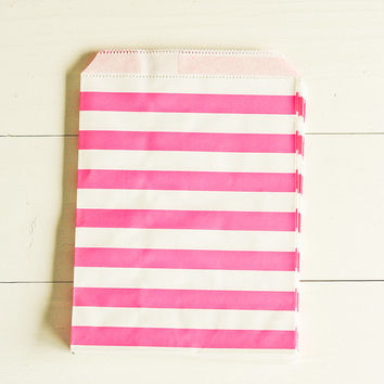 Paper Bags in Bright Pink & White Sailor Stripes - Set of 20 - 5x7 Party Favor Kraft Gift Wrapping Packaging Horizontal Merchandise