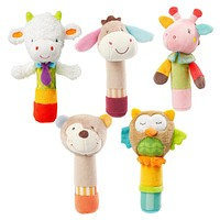 1Pc Newborn Cute Cotton Baby Boy Girl Rattles Infant Animal Hand Bell Kids Plush Toy BB Sound Educational Funny Toys Gifts