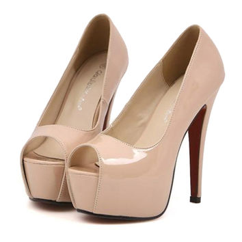 Super High Thin Heel Night Club Sexy Peep-toe Women Shoes  nude pink  35