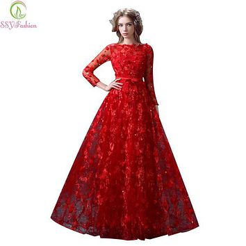 Robe De Soiree SSYFashion Luxury Red Long Evening Dress Lace Flower Long Sleeved Prom Dress Banquet Elegant Princess Party Gowns