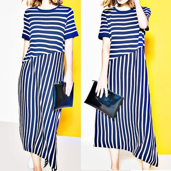 Fashion women's dress skirt Summer new striped color irregular sweater dress