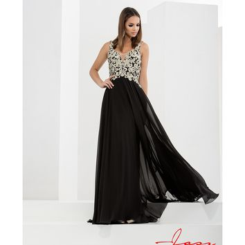 Preorder - Jasz Couture 5733 Black & Gold Sexy Chiffon Embellished Long Dress 2016 Prom Dresses