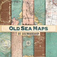 "Vintage maps digital paper ""Old Sea Maps "" with vintage or antique sea maps, nautical maps, vintage maps backgrounds"