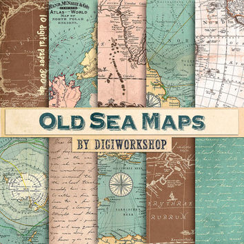 """Vintage maps digital paper """"Old Sea Maps """" with vintage or antique sea maps, nautical maps, vintage maps backgrounds"""