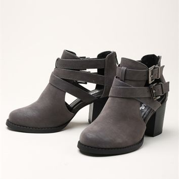 Cutout Buckle Bootie