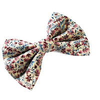 Fabric bow - women and girls floral hair clip - big bow french barrette - 5 inch bows - blue and pink flowers - trendy teen gear