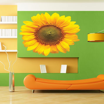 Full color decal Flower sunflower sticker, Flower sun wall art decal Jesus gc439