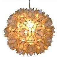 Capiz Shell Floral Pendant Light - White