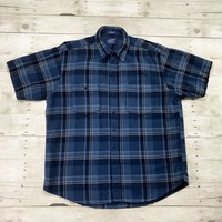 Vintage 90s Pendleton Outdoorsman Blue Plaid Short Sleeve Wool Button Up Shirt Made in USA Mens Size XL