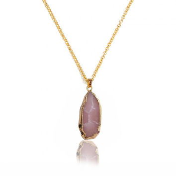 Oval Natural Stone Quartz Agate Druzy Necklace for Women Geometric Necklace Female Jewelry