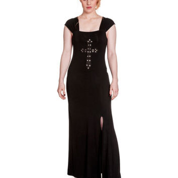 Spin Doctor Crucifix Dress Black Gothic Steampunk Maxi Long Full Length Studded