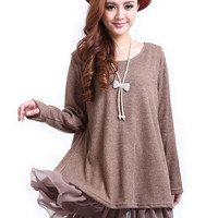 Pregant  Women Casual Blouse Long Sleeve Top Shirt Knit Wool Lady loose Dress Plus Size L-XXL = 1958367812
