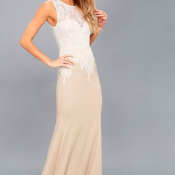 Lover's Lace White and Nude Lace Maxi Dress