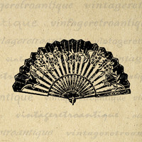 Digital Printable Oriental Fan Download Chinese Fan Graphic Image Vintage Clip Art for Transfers Printing etc HQ 300dpi No.1427