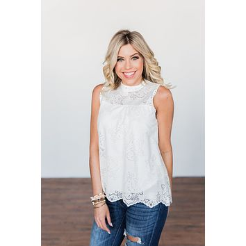 True To My Word Lace Tank Top- Off White