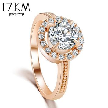 17KM 2/Color hot New Design Fashion Rose Gold Color Zircon Crystal Rings for  women jewelry Silver color Wedding Ring