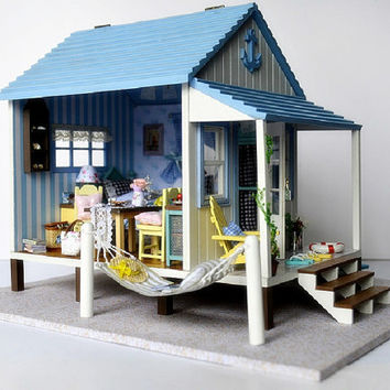 Miniature Dollhouse  DIY Kit Beach House with Voice Control Light and Music Box Cute Room House Model Happiness Coast