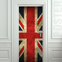 "Door STICKER British flag UK banner Great Britain England English London mural decole film self-adhesive poster 30""x79""(77x200 cm)"