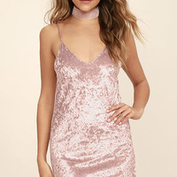 Because You Loved Me Blush Pink Velvet Slip Dress