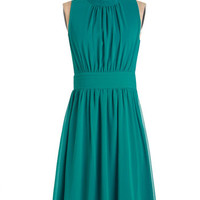 Mid-length Sleeveless A-line Windy City Dress in Teal