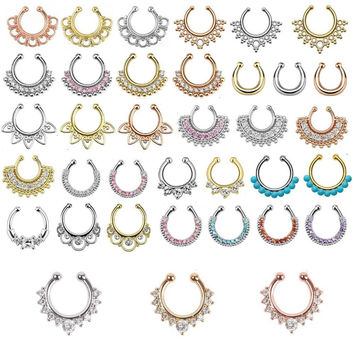 Fashion fake septum / Medical Titanium For Women fake nose ring / Clip Hoop Body Piercing + 18 style