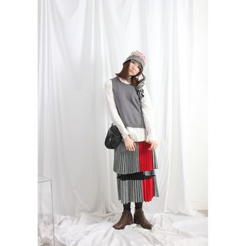 (Korean) 2-Layer Color Blocking Houndstooth Tartan Pleated Skirt With Mesh Inner