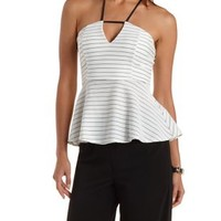White Combo Strappy Striped Peplum Top by Charlotte Russe