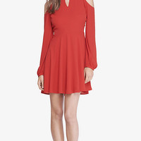 COLD SHOULDER KEYHOLE FIT AND FLARE DRESS from EXPRESS