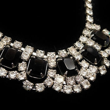Vintage Rhinestone Necklace Old Hollywood Mid Century 1950s Black Glass and Crystal Rhinestone Choker Bib Wedding Evening Formal Party