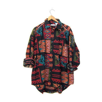 Tribal Print 90s Shirt RAW SILK long Sleeve Ikat Blouse Button Up Slouchy Southwestern Boho Brushed Silk Ethinc Shirt DELLS Vintage Medium
