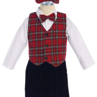 Red Plaid Vest & Black Velvet Knickers Boys Set with Hat 3M-4T
