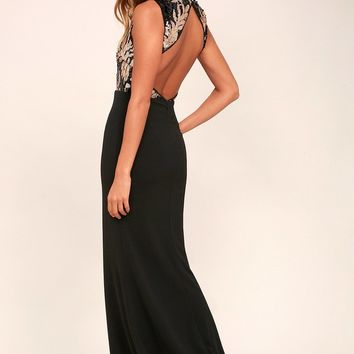 Gilded Glory Gold and Black Sequin Maxi Dress