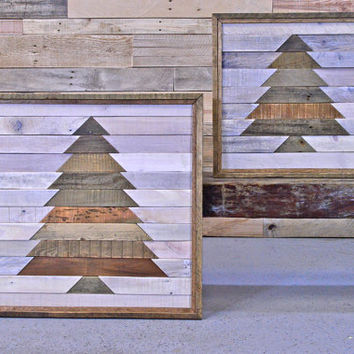 Reclaimed Wood Wall Hanging, Wood Wall Art, Mosaic Wood Art, Rustic Christmas Decor