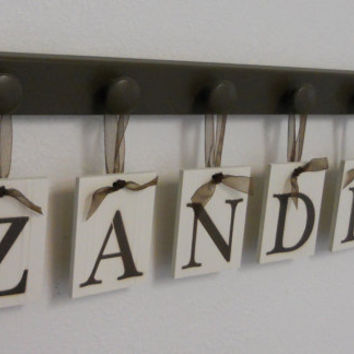 Unique Baby Gifts Personalized for ZANDER Set includes 6 Brown Wooden Pegs and Hanging Wall Letters Baby Boy Nursery Decor